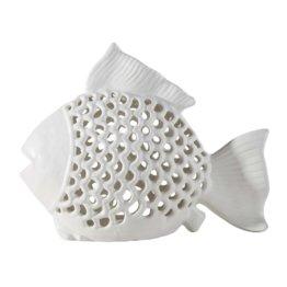 Fischförmige Laterne aus weißer Keramik