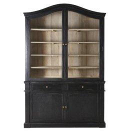 Geschirrschrank mit 4 Türen und 2 Schubladen aus massivem Mangoholz, schwarz Versailles