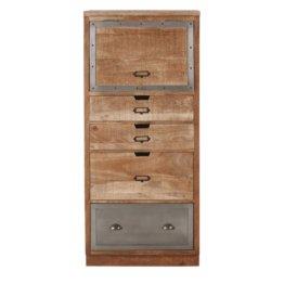 Geschlossener Küchenschrank mit 4 Schubladen aus massivem Mangoholz und Metall Melchior