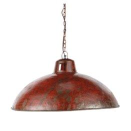 Hängelampe im Industriestil aus rotem Metall mit Rosteffekt