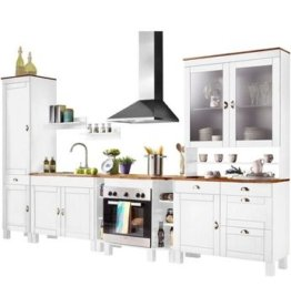 Home affaire Küchen-Set »Oslo«, (7-tlg), ohne E-Geräte, Breite 350 cm, aus massiver Kiefer, 23 mm starke Arbeitsplatte, mit Metallgriffen, Landhaus-Küche, in 2 Tiefen erhältlich