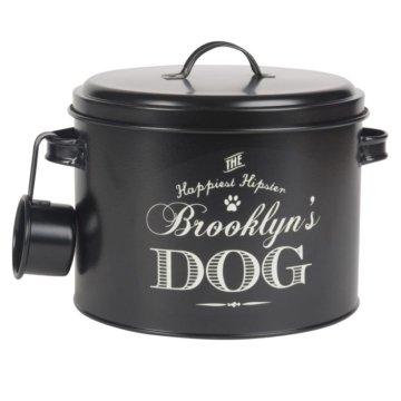 Hundetrockenfutter-Box aus schwarzem Metall, weiß bedruckt