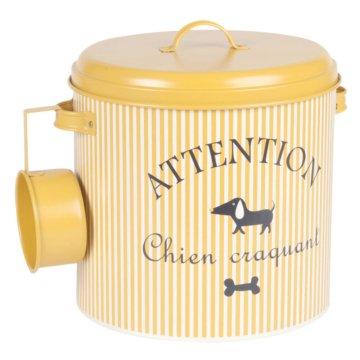 Hundetrockenfutter-Box aus senfgelbem gestreiftem Metall