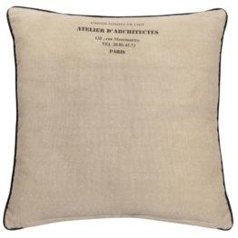 Kissen aus Baumwolle und Jute, beige, 60x60