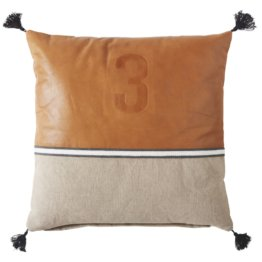 Kissen aus beigefarbener Baumwolle und kastanienbraunem Leder 45x45