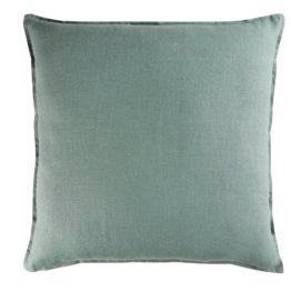 Kissen aus gewaschenem Leinen, grünspanfarben, 60x60
