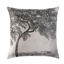 Kissen aus grauem Samt mit aufgedrucktem Baum-Motiv in Schwarz 45x45