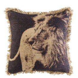 Kissen aus Jute und Baumwolle mit Löwenaufdruck und Fransen 45x45