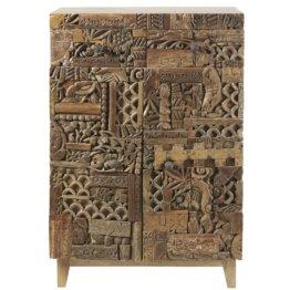 Kommode mit 2 Türen, aus massivem geschnitztem Mangoholz Itza