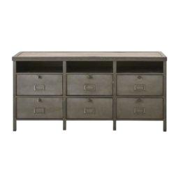 Kommode mit 6 Türen aus grauem Metall und Mangoholz Postman