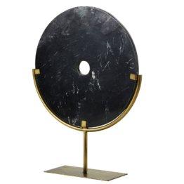Kreis aus schwarzem Marmor und goldfarbenem Metall H56