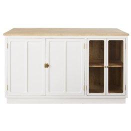 Kücheninsel mit 4 Türen aus massivem Mangoholz und Metall, weiß Cezanne