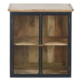 Küchenoberschrank aus massivem Mangoholz mit 2 Glastüren aus Metall, schiefergrau Cezanne