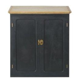 Küchenoberschrank mit 2 Türen aus massivem Mangoholz, schiefergrau B60 Cezanne