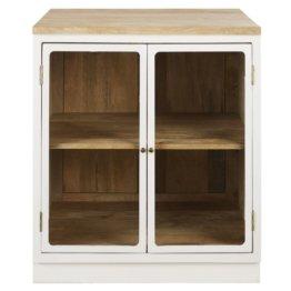Küchenunterschrank mit 2 Glastüren aus massivem Mangoholz, weiß Cezanne
