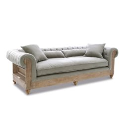 Sofa shabby chic Holz Leinen , grau/braun (103 x 238 x 73.5cm)