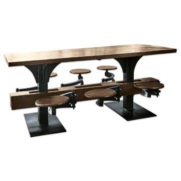 Tisch mit Hocker industrial  Holz Eisen (90 x 183 x 80cm)