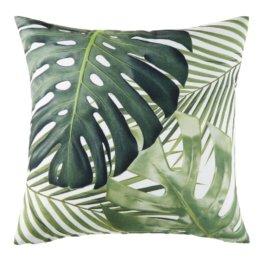 Outdoor-Kissen, weiß, bedruckt mit grünen Blättermotiven 45x45