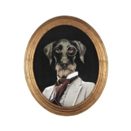 Ovaler Wandbild mit Hund 53x64