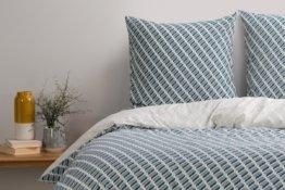 Prism 100 % Baumwolle Bettwaescheset (155 x 220 cm), Blaugruen und Grau - MADE.com