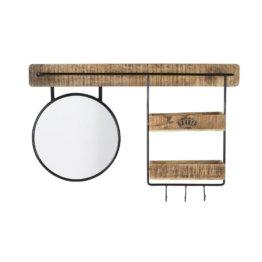 Regal aus Metall und Mangoholz mit Spiegel