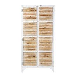 Schrank aus weißem Metall und recyceltem Holz Mistral