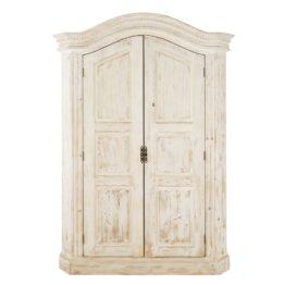Schrank mit 2 Türen aus recyceltem Kiefernholz, weiß Sade