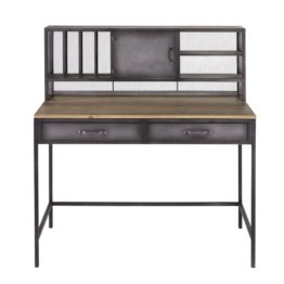 Schreibtisch im Industrial-Stil, 1 Tür, 2 Schubladen, Metall und Tannenholz Gamer
