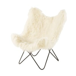 Sessel aus Kunstfell, elfenbeinfarben Grizzli