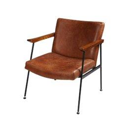 Sessel mit Bezug aus gealtertem braunem Vachette-Leder Blake