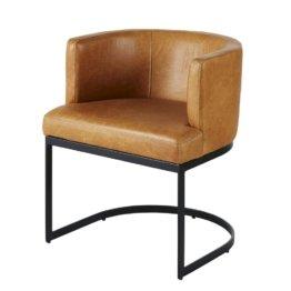 Sessel mit braunem Lederbezug und schwarzen Metallfüßen Requiem