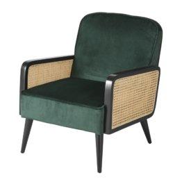 Sessel mit grünem Samtbezug und Wiener Geflecht aus Rattan Ambre