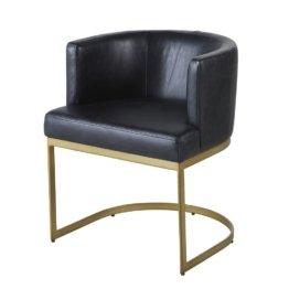Sessel mit schwarzem Lederbezug und messingfarbenen Metallfüßen Requiem