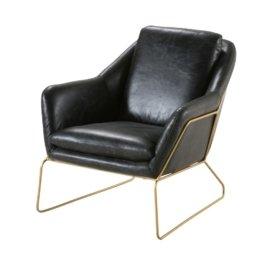 Sessel, schwarzer Lederbezug Majestic