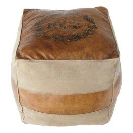 Sitzpuff aus Ledaus Ziegenleder er und Baumwolle