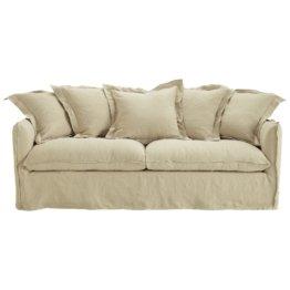 Sofa 3-/4-Sitzer aus gewashenes Leinen, hanffarben Barcelone