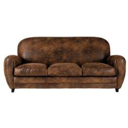 Sofa 3-Sitzer aus Microsuede, braun Arizona