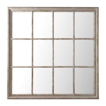 Spiegel aus Paulownienholz, 120x120, grau