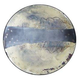 Spiegel rund, Antikoptik, schwarzer Metallrahmen