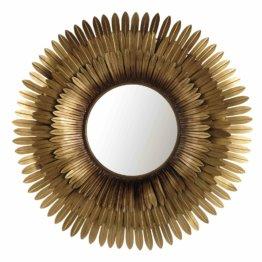 Spiegel TIVOLI mit goldfarbenem Metallrahmen,  Blätterkranz in der Form einer stilisierten Blüte