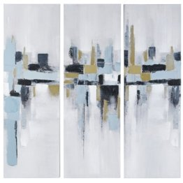 Triptychon aus Leinen, bunt 50x150