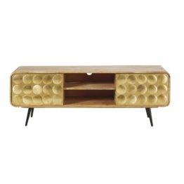 TV-Möbel mit 2 Schubladen im Vintage-Stil, aus massivem Mangoholz Gatsby