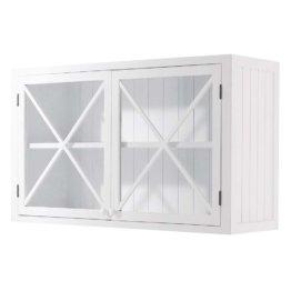 Verglaster Küchenoberschrank aus Holz, B120, weiß Newport