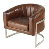 Vintage-Sessel mit braunem Lederbezug und Metall Igor