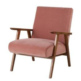 Vintage-Sessel, rosa mit Füßen aus Eschenholz Hermann