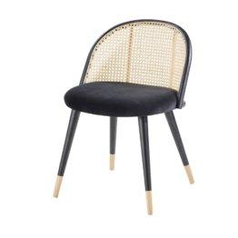 Vintage-Stuhl, schwarz aus Rohrgeflecht und massivem Birkenholz Mauricette