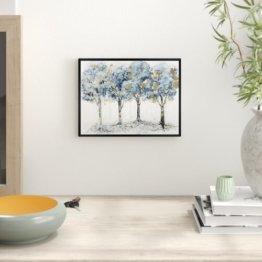 Wandbild Pale Blue Forest Floral and Botanical von Oliver Gal East Urban Home Größe: 81 cm H x 107 cm B x 3 cm T, Format: Schwarz gerahmtes Papier