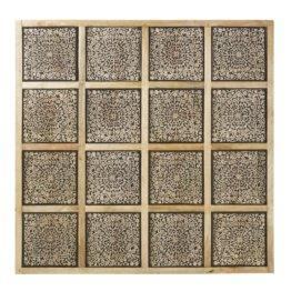 Wanddeko aus geschnitztem Mangoholz, schwarz pigmentiert 122x122