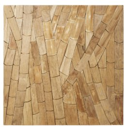 Wanddeko aus Recyclingholz 100x100