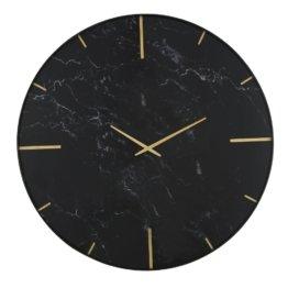Wanduhr aus goldfarbenem bedrucktem Glas und schwarzem Marmor D90